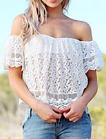 Women's Sexy/Beach/Casual/Cute Micro-elastic Short Sleeve Short Blouse (Spandex/Polyester)