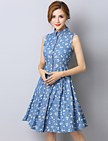 Women's Print Blue Denim Dress , Casual/Cute Stand Sleeveless Ruched