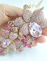 Women Accessories Gold-tone Pink Rhinestone Crystal Orchid Flower Brooch Art Deco Brooch Bouquet Women Jewelry