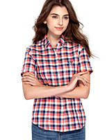 JAMES Summer Women's Slim Rose Red-White Plaids&Checks  Short Sleeve Shirt/ Blouse Business Cute Fashion