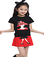 Kids Girls Summer Suits Printed Tops + Mini Skirts Dress Clothing Casual Sets (Cotton Blends)