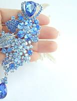 Women Accessories Silver-tone Blue Rhinestone Crystal Flower Brooch Art Deco Brooch Bouquet Women Jewelry