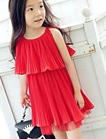 Girls Pleated Sleeveless Chiffon Dress