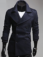 Men's Long Sleeve Long Trench coat , Others Pure