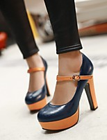 Women's Shoes Chunky Heel Round Toe Pumps/Heels Office & Career/Dress Black/Blue/Brown/White