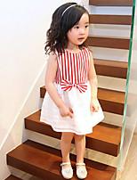 Girl's Korean Style Stripe Bow Splicing Princess Dresses