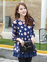 Women's Plus Size Summer Dot Print Loose Chiffon Shirt