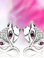 925 Sterling Silver Diamond Earrings Seductive Fox