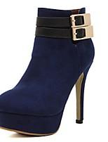 Damenschuhe - Stiefel - Lässig - Kunstleder - Stöckelabsatz - Modische Stiefel - Schwarz / Blau