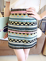 Women's Striped Multi-color Skirts , Casual Above Knee Split