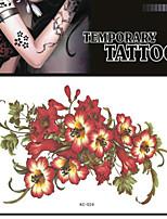 1 - Séries de fleur - Rouge/Vert - Motif - 17*16 - Tatouages Autocollants Adulte