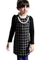 kids Girl's Spring Fall with Necklace Casual Long Sleeved Plaid Dress (Cotton)