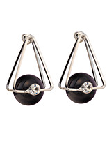 Women's Exaggeration Individuality Triangle Black Pearl pendant Stud Earrings HJ0083