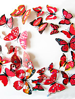 3D Wall Stickers Wall Decals Style Butterfly Color Red PVC Wall Stickers