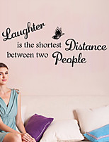 Wall Stickers Wall Decals Style Laughter is The Shortest Distance English Words & Quotes PVC Wall Stickers