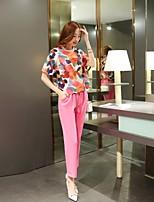 Mulheres Blusa Decote Redondo Manga Curta Microfibra Mulheres