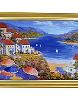 Bay And Red house with Golden Colour Framed Canvas Print