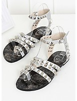 Women's Shoes Patent Flat Heel Round Toe/Open Toe Sandals Casual Black/Silver