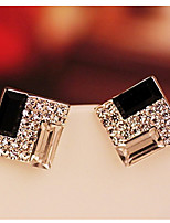 Women's Korean OL Noble Black And White Box Twinkle Diamond Earrings