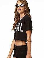 Women's Sexy Back Hollow Out  Asymmetric Hem Short Sleeve Casual Short T-shirt