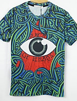 European Style TEE Digital Printing 3D T-shirt Green Bundle Eyeball Harajuku Sleeved T-shirt