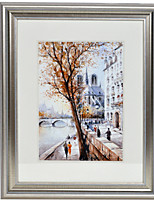 Streetscape with Hamme Ton Silver Framed Canvas Print