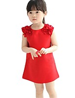 Kids Girls Summer Solid Color Chiffon Shoulder Flower Sleeveless Casual Dresses (Cotton)