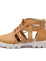 Chaussures Femme Similicuir Talon Plat Bout Arrondi Baskets à la Mode Extérieure/Décontracté Noir/Jaune/Blanc