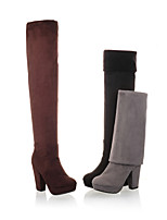 Women's Shoes Fleece Chunky Heel Round Toe Boots Dress Black/Brown/Gray