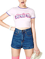 Women's Crew Neck Cute Weird Letter Print Short Sleeve Casual Pink Punk Cropped T-shirts