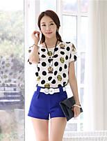 Women's Print/OL Round Collar Strapless Polka Dots Micro-elastic Short Sleeve Regular Blouse (Chiffon)