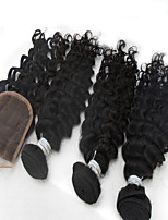 3Pcs /Lot 10''-28'' Raw Hair Malaysian Remy Hair Unprocessed Virgin Hair Extensions Natural Black Deep Wave Hair Closure