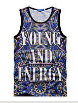 Men's Casual Print Sleeveless Regular T-Shirts (Cotton Blends)