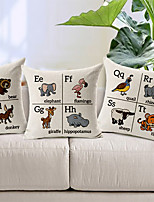 Set of 3 Cartoon English Letters for Preschool Baby Cotton/Linen Decorative Pillow Covers