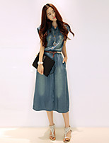 Women's Solid Blue Denim Dress , Casual V Neck Sleeveless