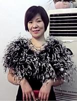 Hoods & Ponchos Sleeveless Ostrich Fur Black/White