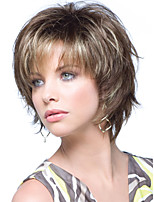 Women's Fashionable Short Brown Blonde Mixed color Wigs with Bang