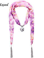 D Exceed  Women Scarf Fashion Accessories For Autumn Printed Scarves with Purple Flower Heart Pendant Chiffon Scarves