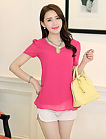 Women's Solid Pink Blouse , Casual Short Sleeve