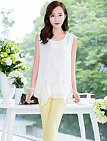 Women's Casual/Lace/Cute/Work OL Style Elegent Sleeveless Regular Blouse (Chiffon/Lace)