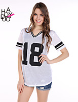 haoduoyi® Women's BF Style Letter Printed Mesh Short Sleeve T-shirt
