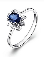 Women's Silver Ring With Sapphire