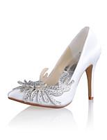 Women's Shoes Silk Stiletto Heel Heels/Round Toe Pumps/Heels Wedding/Party & Evening White/Beige