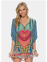 Women's Casual Print Micro elastic ¾ Sleeve Knee length Dress