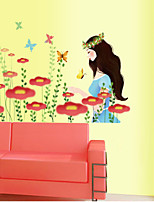 Wall Stickers Wall Decals Style Butterfly Flower Woman PVC Wall Stickers