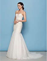 Lan Ting Fit & Flare Wedding Dress - Ivory Sweep/Brush Train Sweetheart Tulle / Sequined