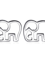 Jazlyn Authentic Platinum Plated 925 Sterling Silver Lovely Calf Elephant Stud Earrings