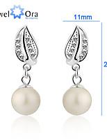 Genuine 925 Silver Pearl Wedding Earrings Female Sterling Silver Drop Pearl Earrings For Women