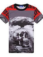Men's Casual Print Short Sleeve Regular T-Shirts (Cotton Blends)