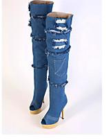 Zapatos de mujer - Tacón Stiletto - Tacones / Punta Redonda - Tacones / Botas - Casual - Piel Sintética - Azul